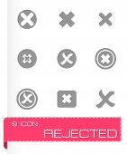 stock photo of reject  - Vector rejected icon set on grey background - JPG