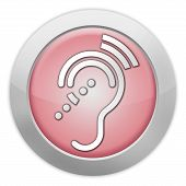 stock photo of hearing  - Icon Button Pictogram with Hearing Impairrment symbol - JPG