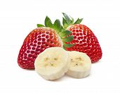 image of banana split  - Whole strawberry banana pieces compact composition isolated on white background as package design element - JPG