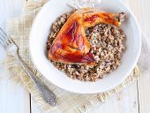 picture of buckwheat  - Delicious baked chicken with boiled buckwheat and rosemary sauce - JPG
