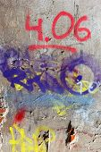 image of hooligans  - Hooligan smeared paint the walls of the old building - JPG