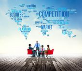 foto of competition  - Global Competition Business Marketing Planning Concept - JPG