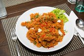 stock photo of catfish  - Crispy catfish spicy salad with sauce Thaifood. ** Note: Visible grain at 100%, best at smaller sizes - JPG