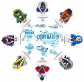 stock photo of coworkers  - Coorperation Business Coworker Planning Teamwork Concept - JPG