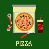 pic of condiment  - Takeaway pizza with an overhead view of a pizza in a fast food box surrounded by a pastry wheel - JPG