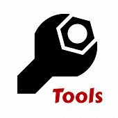 foto of adjustable-spanner  - Black silhouette of a spanner or wrench tool around a hexagonal bolt and the word tools below - JPG