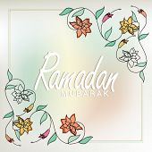 picture of ramadan mubarak card  - Elegant greeting or invitation card decorated with beautiful floral design for holy month of Muslim community - JPG