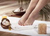 foto of wet feet  - Female feet with drops of water on spa background - JPG