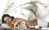 stock photo of black woman spa  - Beautiful Woman Getting Spa Massage in Spa Salon - JPG