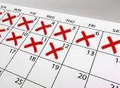 picture of cross  - Calendar with strikethrough crosses fields - JPG
