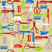 foto of barbershop  - Vector Colorful pattern of barber element - JPG