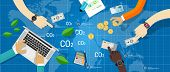stock photo of carbon-footprint  - carbon emission co2 trading business bargain green economy - JPG