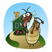 foto of termite  - Cartoon hungry termite wants to eat the house - JPG