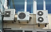 stock photo of hvac  - Industrial air conditioning and ventilation systems on a wall - JPG
