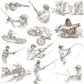 image of freehand drawing  - FISHING and FISHERS - JPG