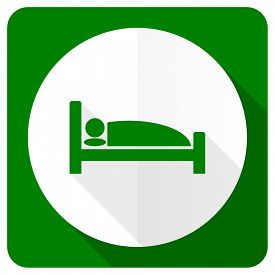 image of flat-bed  - hotel flat icon bed sign  - JPG