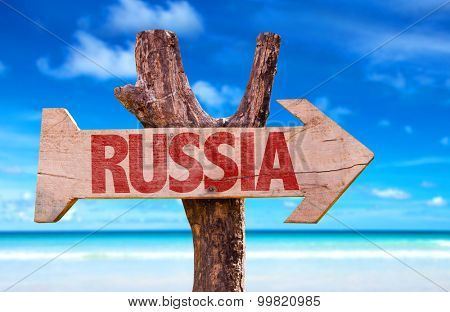 Russia wooden sign with sea