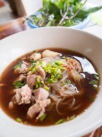 foto of noodles  - pork noodle with soup Thai style - JPG