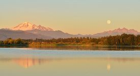 picture of three sisters  - Full Blue Moon over Mt - JPG