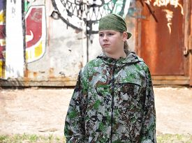 pic of paintball  - boy teenager in camouflage and with equipment for paintball - JPG
