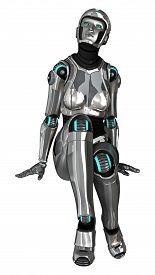 foto of cyborg  - 3D digital render of a female cyborg isolated on white background - JPG