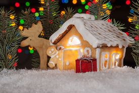 stock photo of gingerbread man  - Gingerbread house with gingerbread man elk and christmas trees - JPG