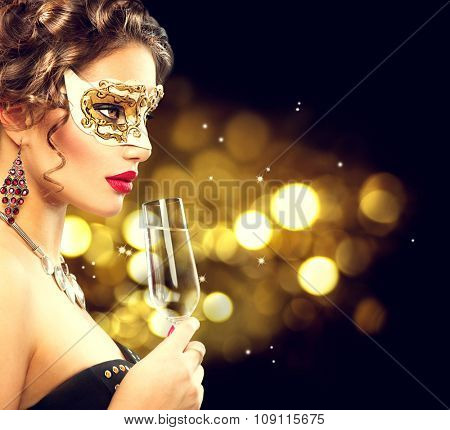 Sexy girl drinking champagne