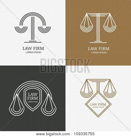 Set Of Vector Line Style Vintage Law Firm Logo Design Template ...