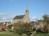 stock photo of ceres  - A view of the village of Ceres in Fife and the church at its centre - JPG