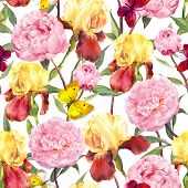Постер, плакат: Peonies flowers irises and butterflies Seamless floral pattern Water color