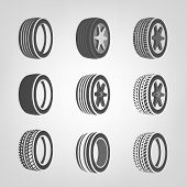 Tires collection vector poster