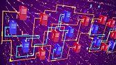 Постер, плакат: Multicolored Big Data Transfer Process