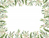 Watercolor Illustration. Pre Made Christmas Frame. Perfect For Invitations, Greeting Cards, Prints, poster