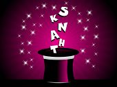 foto of thank you card  - purple background with shiny star and hat with thank alphabet - JPG