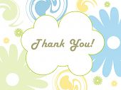 image of thank you card  - abstract white background with colorful blossom - JPG