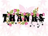 pic of thank you card  - pink blossom pattern background with decorated heart - JPG