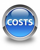 Costs Glossy Blue Round Button poster