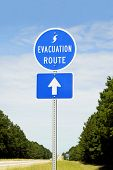 stock photo of disaster preparedness  - A highway sign marking Hurricane Evacuation Route - JPG