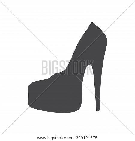 poster of Feminine Shoe Vector Icon On White Background. Feminine Shoe Icon In Modern Design Style. Feminine S