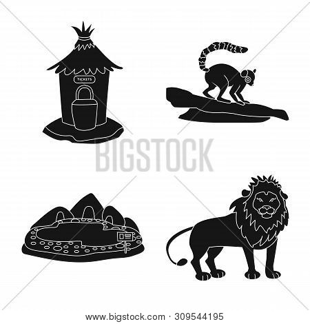 poster of Isolated Object Of Fauna And Entertainment Logo. Set Of Fauna And Park Stock Vector Illustration.
