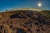 Magical Sunset Time Above The Clouds In The Tenerife Mountains In Canary Islands. Fresh Lava Fields poster