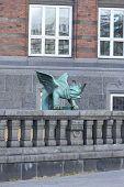 Copenhagen City Hall, Green Mascaron On The Fence At The Entrance To The Building, Copenhagen, Denma poster