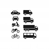 Motor Vehicles, Automobile, Bus, Truck Flat Vector Pictogram Icon Set. Motorcycle, Van, Scooter Blac poster