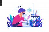 Medical Tests Blue Illustration -chemical Laboratory Analysis - Modern Flat Concept Digital Illustra poster