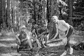 Company Friends Having Hike Picnic Nature Background. Summer Picnic. Tourists Hikers Relaxing While  poster