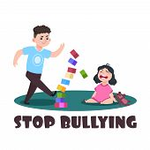 Angry Kids. Bad Boy And Crying Little Girl. Stop Bullying Vector Illustration. Bully Boy Has Conflic poster
