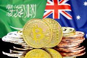 Concept For Investors In Cryptocurrency And Blockchain Technology In The Saudi Arabia And Australia. poster