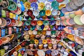 Street Market In Chefchaouen, Morocco, Small Town In Northwest Morocco Known For Its Blue Buildings poster