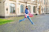 Patriotic Spirit. Patriotic Man Jumping With American Flag. Independence Day. Bearded Hipster Patrio poster