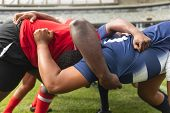 Side view close up of diverse male rugby players playing rugby match in stadium.  poster